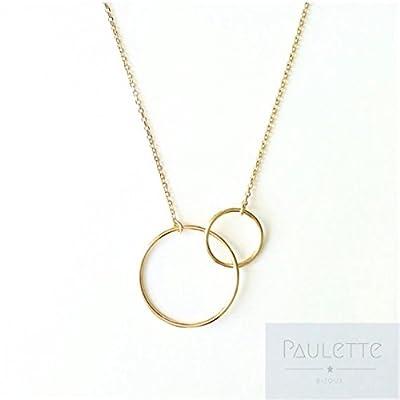 Collier 2 Ronds - cercles - anneaux en Plaqué Or