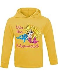 Personalizado Nombre la sirena niños sudadera con capucha infantil ligero material cumpleaños infantil de princesa personalizado
