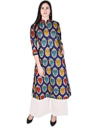 Indiwest Rayon Printed Black-Off-White Women's Kurti ( With Pocket)With Rayon Solid Palazzo