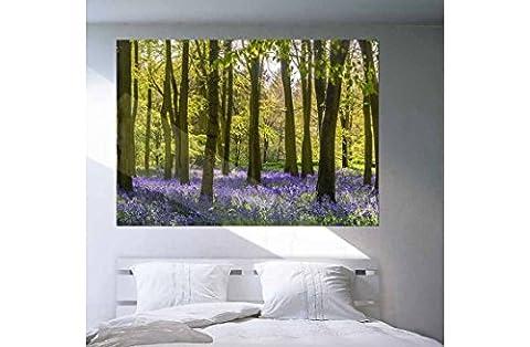 Poster géant forêt de jacinthes fleure violettes - Papier intissé robuste, à punaiser