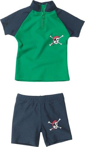 Playshoes Baby - Jungen Schwimmbekleidung 460082 2 tlg. Bade-Set (T-Shirt und Badeshorty) Pirat von Playshoes mit UV-Schutz nach Standard 801 und Oeko-Tex Standard 100, Gr. 74/80, Grün (791 blau/grün)