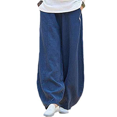 3690a7991388 CuteRose Women Regular Fit Washed Linen Chinese Style Long Pants Leg Pants  Dark Blue L