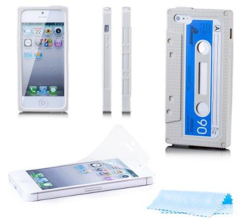 Apple iPhone SE / 5S / 5   Caso iCues Cassette Blu   [Protezione dello schermo compresa] bossolo nastro guscio protettivo di protezione della copertura dellinvolucro Custodia Cover Case Tasca Borsa Beige