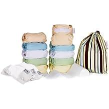 Close Parent 3121120013 - Pack de 10 pañales de tela en colores pastel con interior de minkee + 3 absorbentes de noche + 80 forros + 1 bolsa impermeable