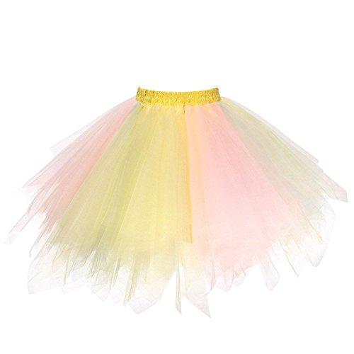 Honeystore Damen's Tutu Unterkleid Rock Abschlussball Abend Gelegenheit Zubehör Gelb und Rosa A520626120110 (See-brautstrauß)