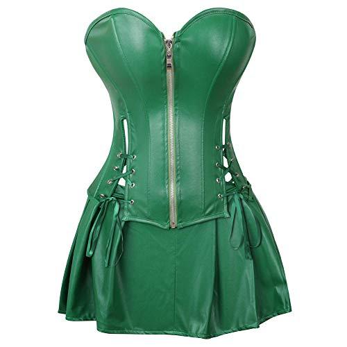 Ivy Kleid Grünes Kostüm Poison Für - love+djl Korsett,Sexy Korsettkleid Damen Kunstleder Korsett Bustier Mit Minirock Poison Ivy Kostüm Grün Plus Size S-6Xl @ Green_6XL