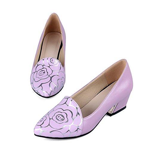 AgooLar Femme Pointu Tire Matière Mélangee Couleurs Mélangées à Talon Bas Chaussures Légeres Violet