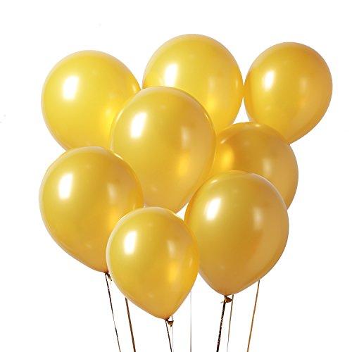 PuTwo Globos Dorados, Globos 100 Piezas 12 Inch Oro Globos Dorados Metalizados Globos Latex Oro Globos Cumpleaños Dorado Globos Bodas de Oro, Globos para Fiesta, Cumpleaños, Bodas, Bautizos