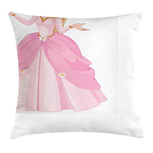 Princess Throw Pillow Cushion Cover, Pink Dressed Princess with Her Bird Animal Love Teenage Girl Theme, Decorative Square Accent Pillow Case, 18 X 18 inches, Pink Pale Pink Yellow