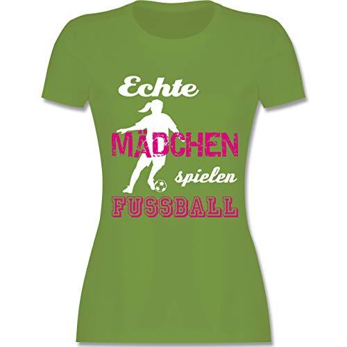 Fußball - Echte Mädchen Spielen Fußball weiß - S - Hellgrün - L191 - Damen T-Shirt Rundhals