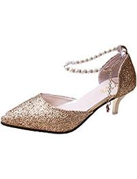 WKNBEU Damen Slip-On Schwarz Rot Rosa Spitz Ausgeschnitten Stiletto High Heel Court Schuhe Abend Party Prom