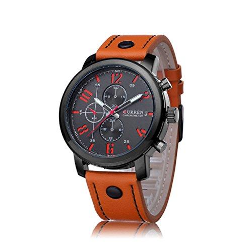 Montres Top Montres Marque de luxe en cuir Curren Hommes Sport Quartz Hommes Hommes Curren Montres Brown