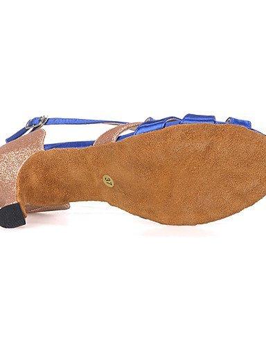 ShangYi Chaussures de danse(Noir / Bleu / Rouge) -Personnalisables-Talon Bobine-Satin / Paillette Brillante-Ventre / Latine / Jazz / Moderne / Red