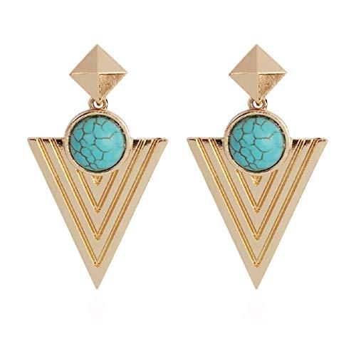 Ohrringe, Barlingrock Dreieck Mosaik Kreis Damen Modeschmuck Creolen für Frauen Ohrringe Mode Einfache Europäische und Amerikanische Ohrringe -