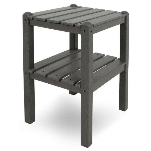 CASA BRUNO Beistelltisch mit zwei Böden, 48x36x58 cm, aus recyceltem Poly-HDPE Kunststoff, schiefergrau - kompromisslos wetterfest