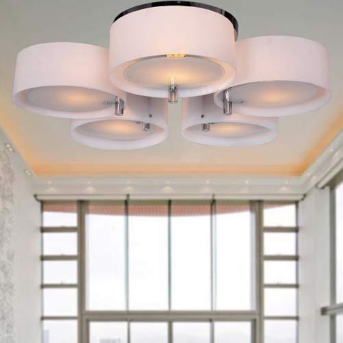 ALFRED Lampadario in acrilico con 5 luci (finitura cromata), montaggio a filo della luce di soffitto Apparecchio per lo studio / ufficio, camera da letto, Soggiorno