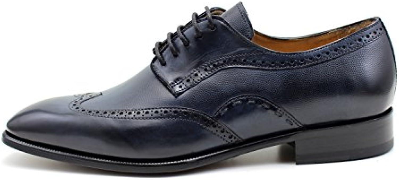 GIORGIO REA Zapatos Para Hombre Azul Zapatos de Cordones Hechos a Mano EN Italia, Abarcas, Mocasines, hebillas... -