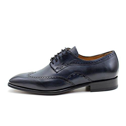 GIORGIO REA Chaussures Homme Bleu Fait à la Main en Italie, Single Boucle, Brogues, Mocassins, Boucles, Élégant, Haute Couture