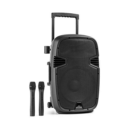 Malone Bushfunk 30 • aktiver 2-Wege PA-Lautsprecher • mobile PA-Anlage • 350 W RMS • 30 cm-Tieftöner • 2,5 cm-Horn-Tweeter • VHF-Empfänger • Class A/B Verstärker • Bluetooth • MP3-fähiger USB- / SD- / MMC-Port • AUX / Line • Akku • Fernbedienung • schwarz
