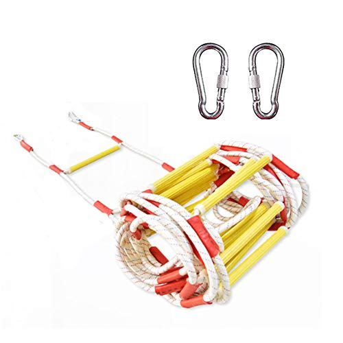 2 Escape Ladder (Escape Soft Ladder mit 2 Karabinern-Fire Emergency Ladders-Sicherheits-Strickleiter Escape from Window and Balcony,10m)