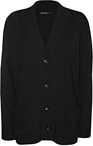 WearAll - Grande Taille Bouton manches longues Pocket Haut Ladies Cardigan en maille - Noir - 46-48
