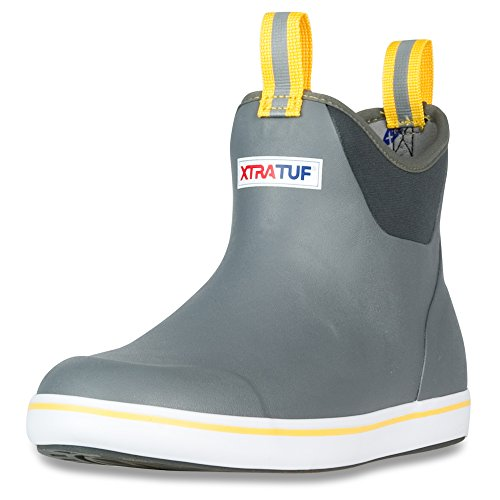 Xtratuf Performance Series 6 Men's Rubber Ankle Boots Men's 12 Gray/Yellow by Xtratuf (Boot Back Ankle)