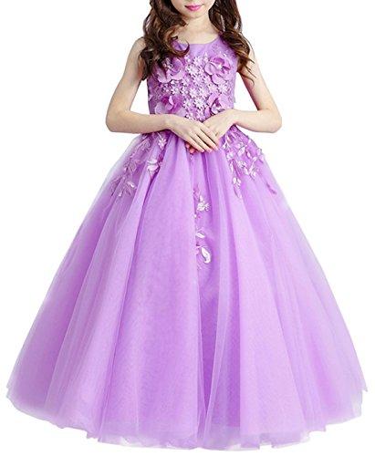 Mädchen Prinzessin Kleid Hochzeits Festzug Kleid Blumenmädchenkleid Geburtstagsfeier KleidLila100