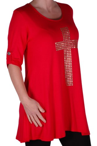 Eyecatch TM Plus - T Shirt croix gothique oversize col rond - Femme Rouge