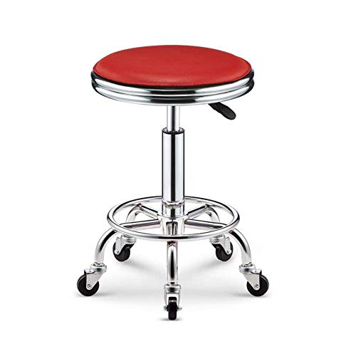 Adjustable Rolling Swivel Chair Round Seat Metal Base Salon Massage ()
