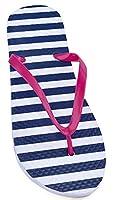 Womens Striped Design Pool Side-Beach Summer Flip Flops UK 3-4 Pink - Denim