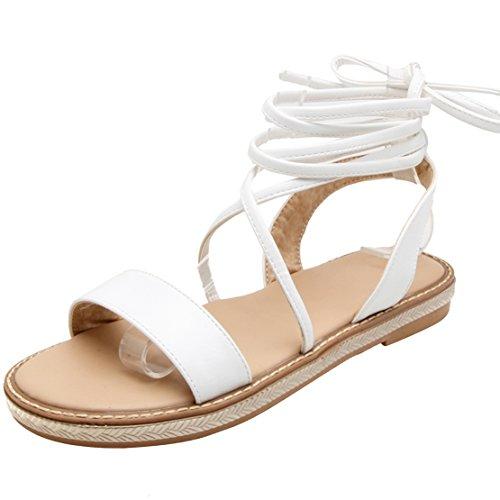 AIYOUMEI Damen Flache Gladiator Sandalen Zum Schnüren Flach Sandaletten Römersandalen mit Schnürung Schuhe Weiß 35 EU