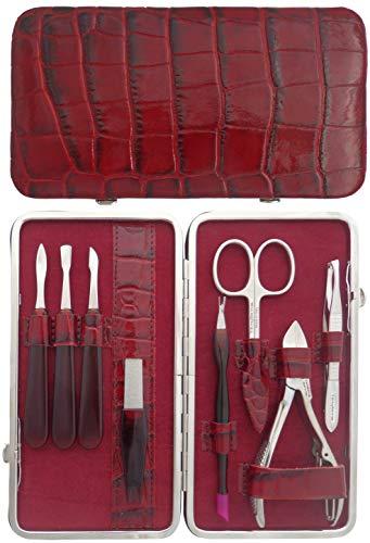 Tenartis 302 Set Manucure et Pedicure 8 pièces en Cuir Bordeaux Croco - Fabriqué en Italie