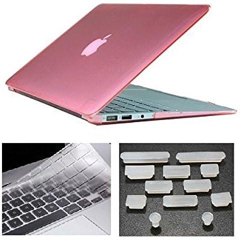 HYAIT 3in 1Ultra Sottile Cristallo Hard Case + tastiera copertura + Anti-Dust Plugs per Apple Macbook Air da 11.6A1370e A1465, colore: rosa