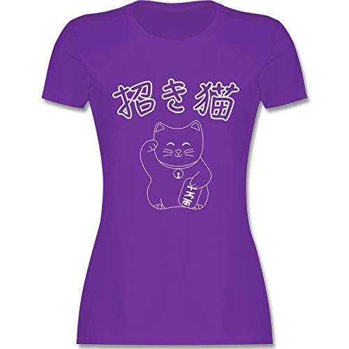 Katzen - Winkekatze- Japanisch - tailliertes Premium T-Shirt mit  Rundhalsausschnitt für Damen Lila