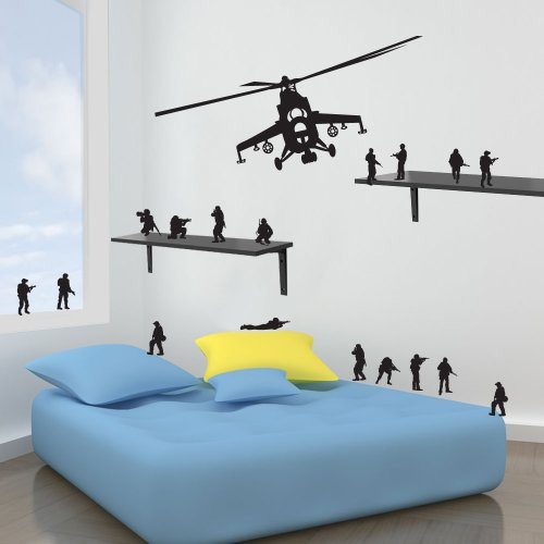 Vinyl Concept - New Army Helicopter Kids Obstruction Stickers Decals Diy Wall Art Sticker 17 Free Men Removable, Easy To Remove, Children'S Wall Stickers, Art Mural, Art Decor, Sticker Diy Deco : Black -- Conveyance by Vinyl Concept