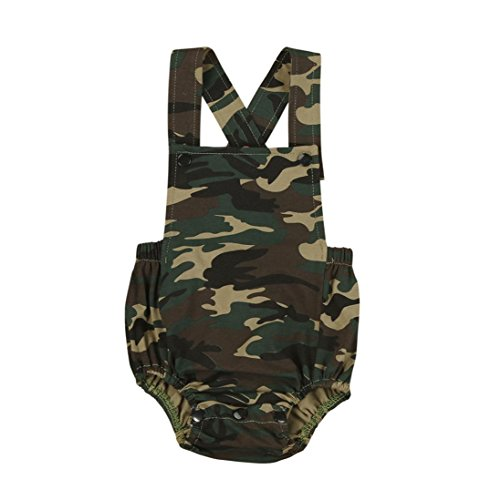 SHOBDW Girls Rompers, Baby Boys Fashion Camouflage Print Sleeveless Bib Shorts Summer Cotton Jumpsuit Gifts Newborn Infant Party Photo Clothes