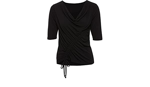 c34722535f69 Body Flirt Damen T-Shirt Wasserfallausschnitt Schwarz 36 38  Amazon.de   Bekleidung