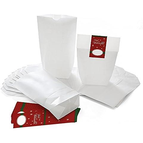 '25bianche sacchetto regalo con fondo (14x 22x 5,6cm) in carta Kraft e 25dunkelrote adesivi