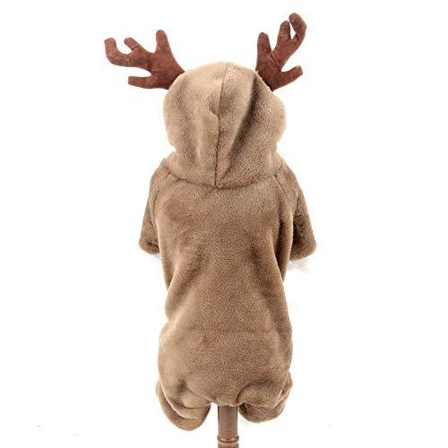 smalllee_lucky_store Weihnachts-Kostüm für Hunde und Katzen, mit Rentier-Motiv, Fleece-Mantel (Französische Kostüm)