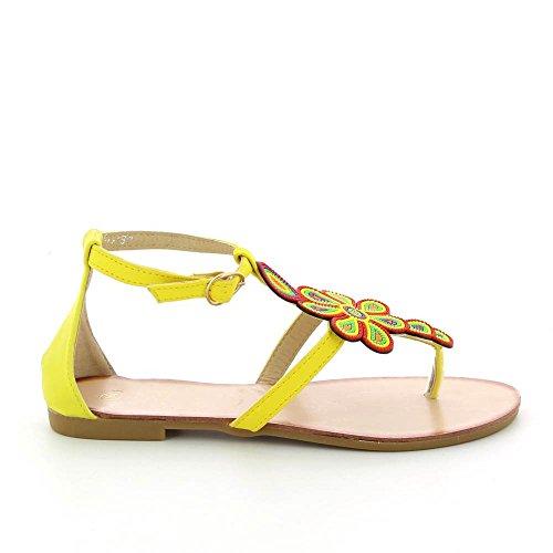 Go Mode - Sandali piatti un fiori multicolor - Donna Giallo (giallo)