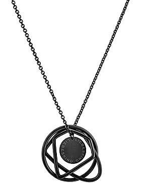 Liebeskind Berlin Damen-Kette mit Anhänger Icon Collier Edelstahl Black 85 cm