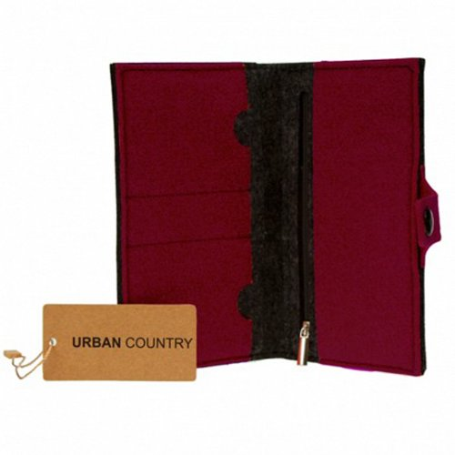 Urban Country Tasche Organizer Full Geldbeutel, Burgunderrot (Lila) - UC008008-Burgundy (Handtasche Bag Purse Fell)