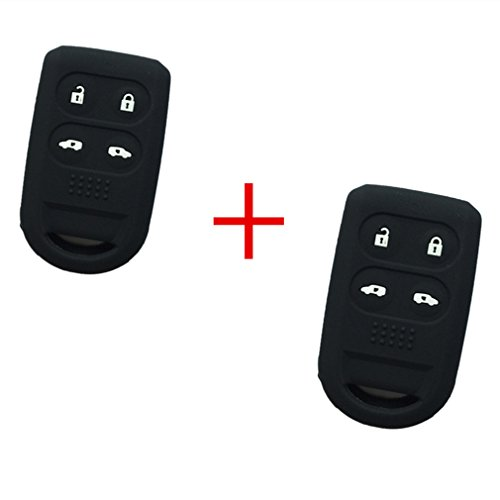 2Pcs New Black Protect Silicone 4 Buttons Keyless Remote Key Fob Skin Cover Case Shell Jacket Holder Key Protector for Honda Odyssey