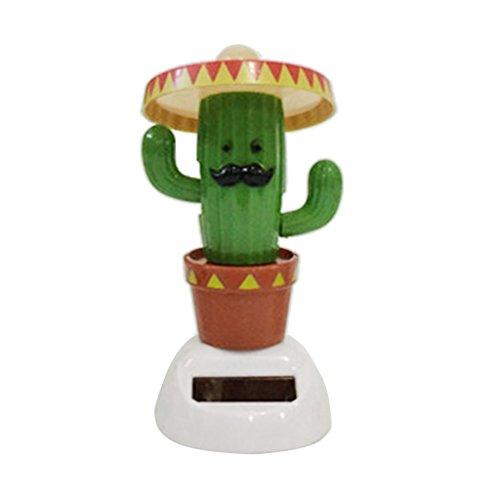 B Blesiya Figura de Muñecas/Plantas/Huevos Tambaleante por Energía Solar Decoración para Coche Auto Regalo de Fiesta Cumpleaños Navidad - Cactus