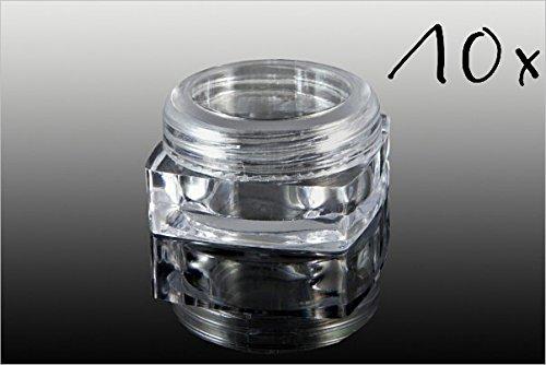 NEW Nail Art 10 x Boîte Vide Avec Pots en vissé, 3 ml Boîte de rangement Transparent boîtes Accessoires