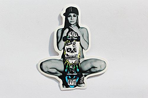 Preisvergleich Produktbild greestick Aufkleber Girl Mädchen Pin Up Skater Girl Tattoo by Sticker Bomb farbig für Auto Skateboard Helm Longboard Laptop Snowboard Koffer Gepäck Decals