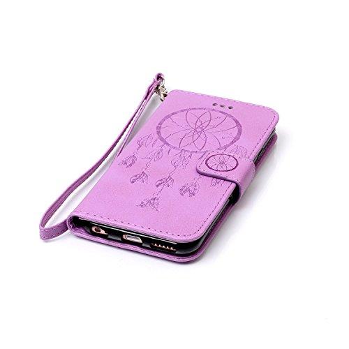 iPhone 6 Plus / 6S Plus Hülle,iPhone 6 Plus / 6S Plus Ledertasche Brieftasche im BookStyle,Cozy Hut Handyhülle iPhone 6 Plus / 6S Plus [Flügel] Muster PU Leder Tasche Schutzhülle Folio Magnetverschlus Lila Campanula