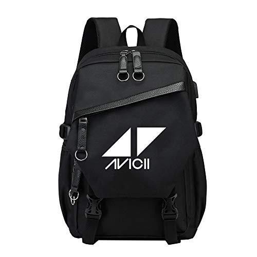 Unisex DJ Avicii Canvas Rucksack Jugend Computer Rucksack mit USB-Ladeanschluss Große Kapazität Reise- und Freizeitcomputer-Tasche Sport-Daypack