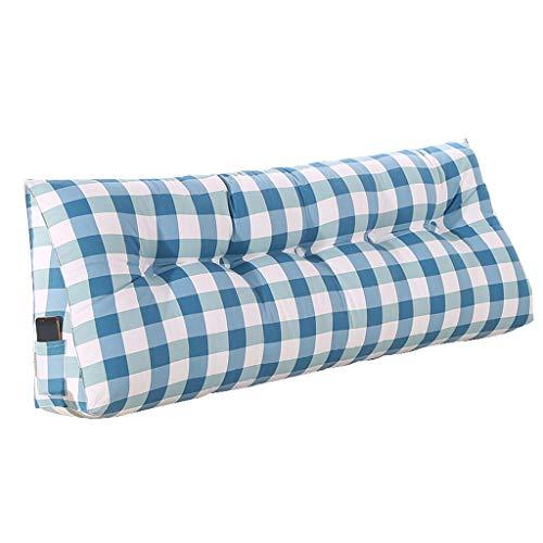 BYNNKD Coussin De Tête Double, Canapé Souple De Sac À Dos Triangulaire Grand Canapé-lit Arrière Grand Oreiller Amovible Et Lavable/Coussin Lombaire (Couleur : Bleu et blanc, taille : 120×20×50cm)