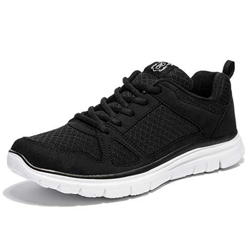NewDenBer NDB Herren Leichtes Sneaker Sportschuhe Laufschuhe (50 EU, Schwarz/Black White)